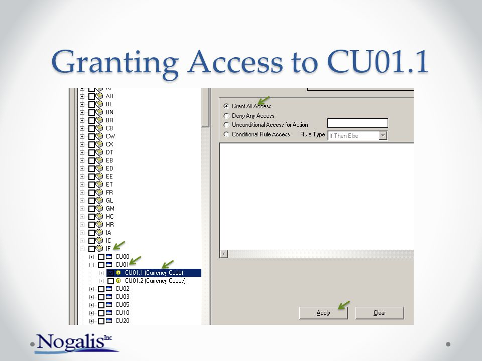 Granting Access to CU01.1