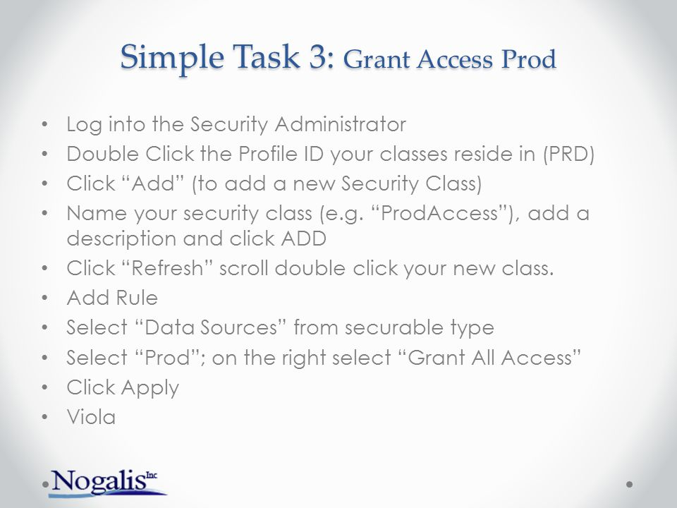 Simple Task 3: Grant Access Prod