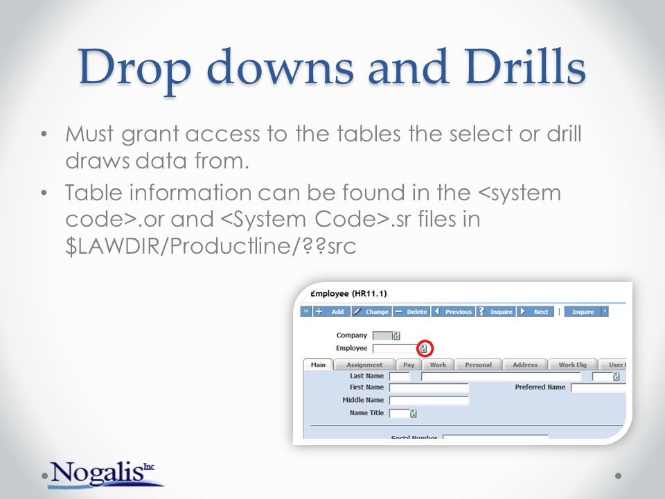 Drop downs and Drills Must grant access to the tables the select or drill draws data from.