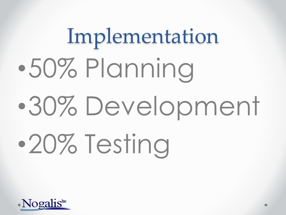 Implementation 50% Planning 30% Development 20% Testing