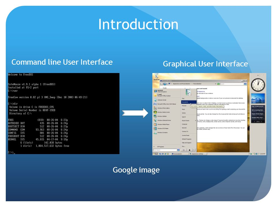 Introduction Command line User Interface Graphical User Interface