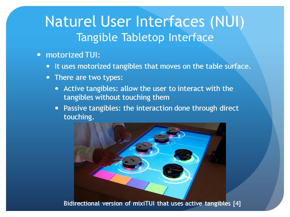 Naturel User Interfaces (NUI) Tangible Tabletop Interface