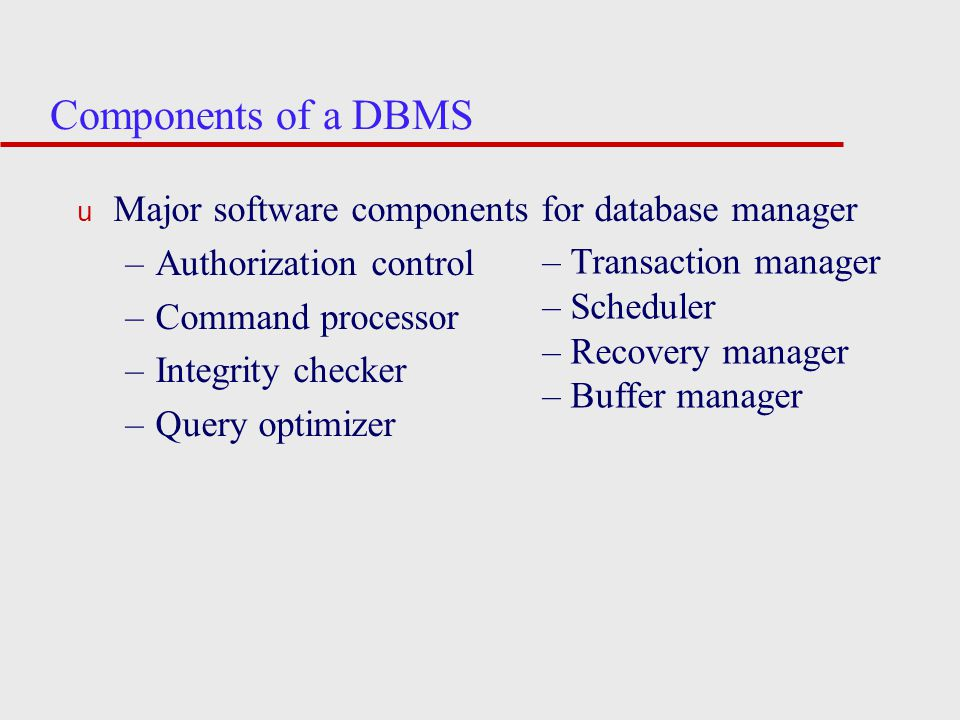 Components of a DBMS Major software components for database manager