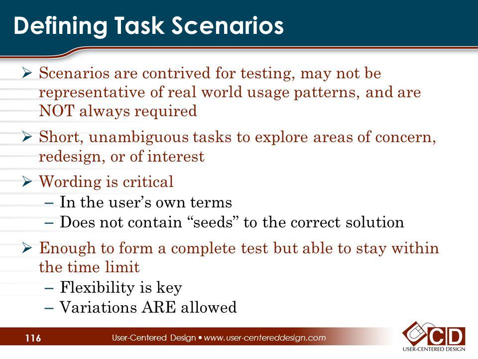 Defining Task Scenarios