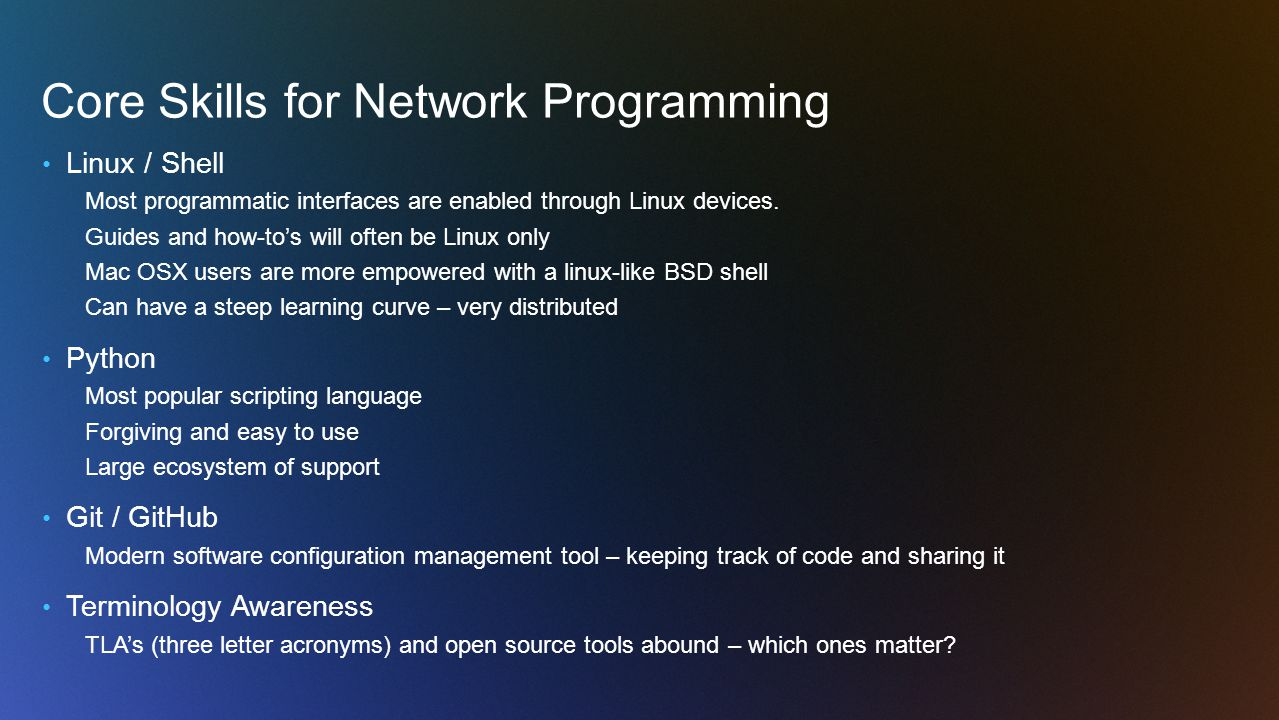 Core Skills for Network Programming