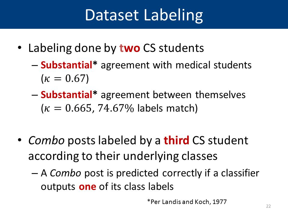 Dataset Labeling Labeling done by two CS students