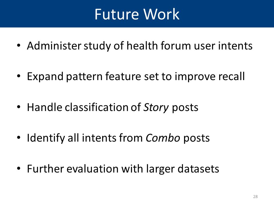 Future Work Administer study of health forum user intents