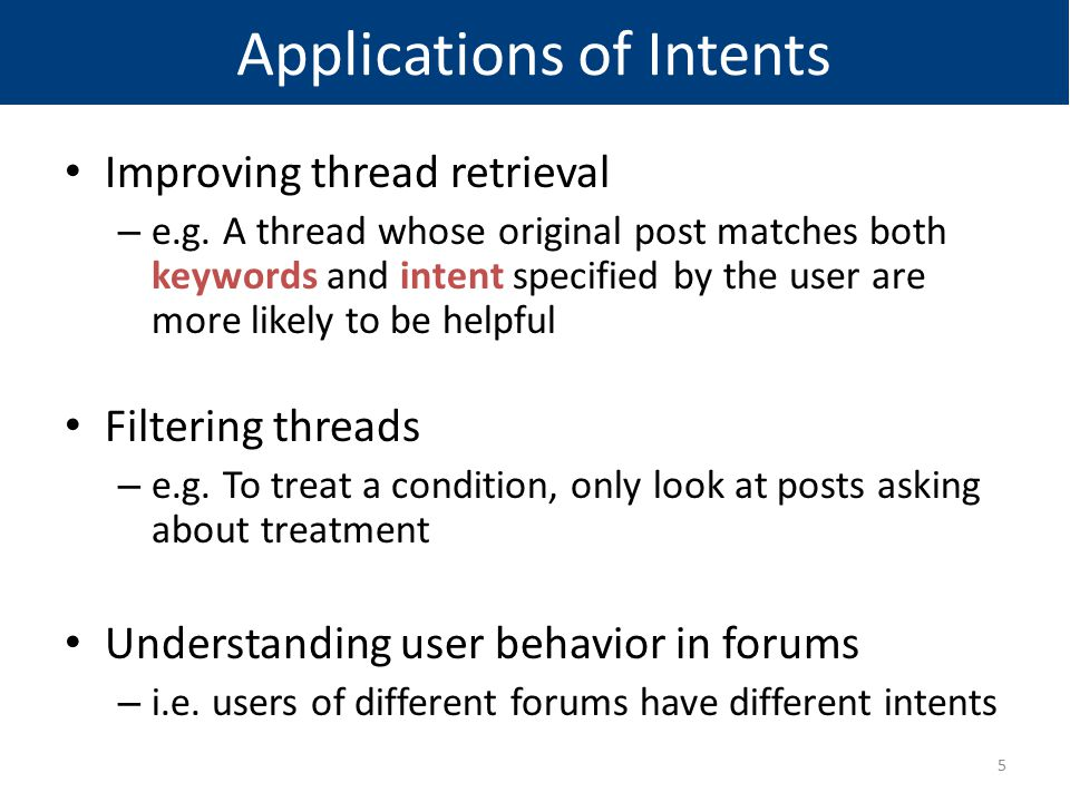 Applications of Intents