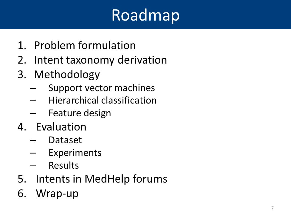 Roadmap Problem formulation Intent taxonomy derivation Methodology