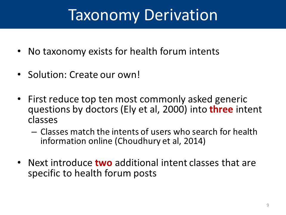 Taxonomy Derivation No taxonomy exists for health forum intents