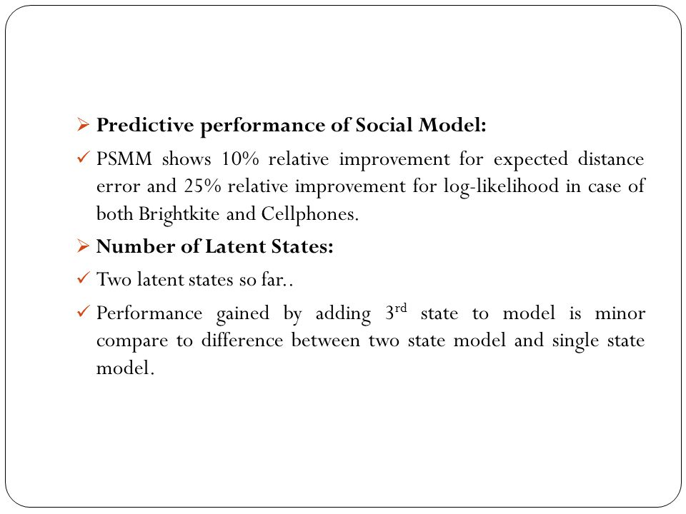 Predictive performance of Social Model: