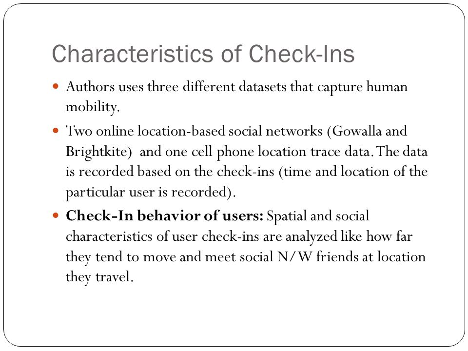 Characteristics of Check-Ins