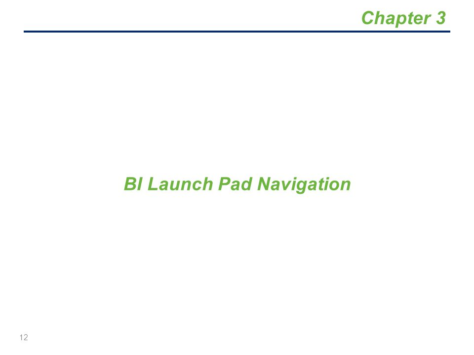 BI Launch Pad Navigation