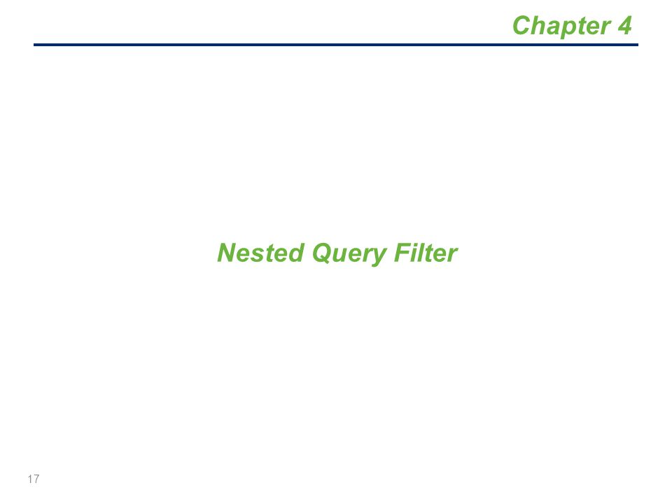 Chapter 4 Nested Query Filter