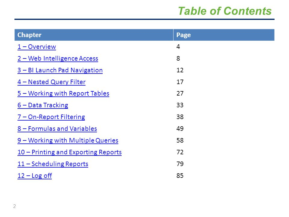 Table of Contents Chapter Page 1 – Overview 4