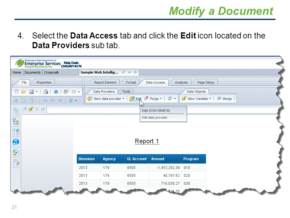 Modify a Document Select the Data Access tab and click the Edit icon located on the Data Providers sub tab.