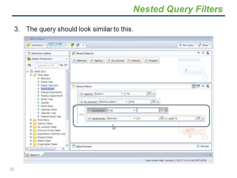 Nested Query Filters The query should look similar to this.