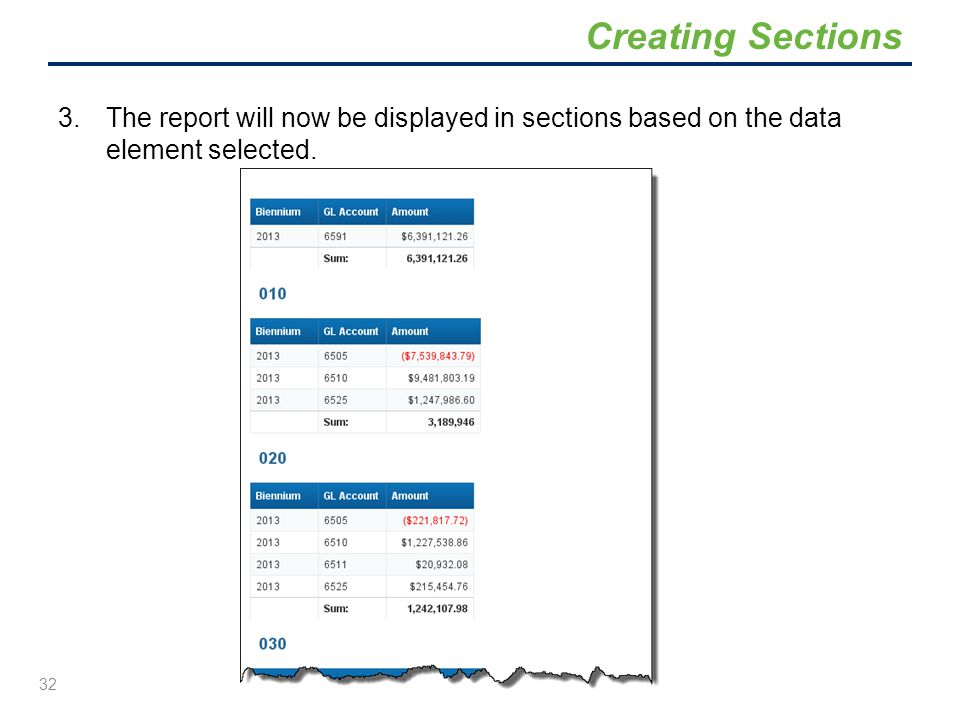 Creating Sections The report will now be displayed in sections based on the data element selected.