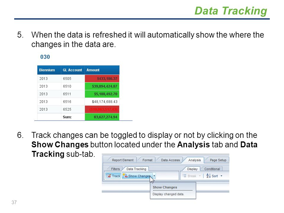 Data Tracking When the data is refreshed it will automatically show the where the changes in the data are.