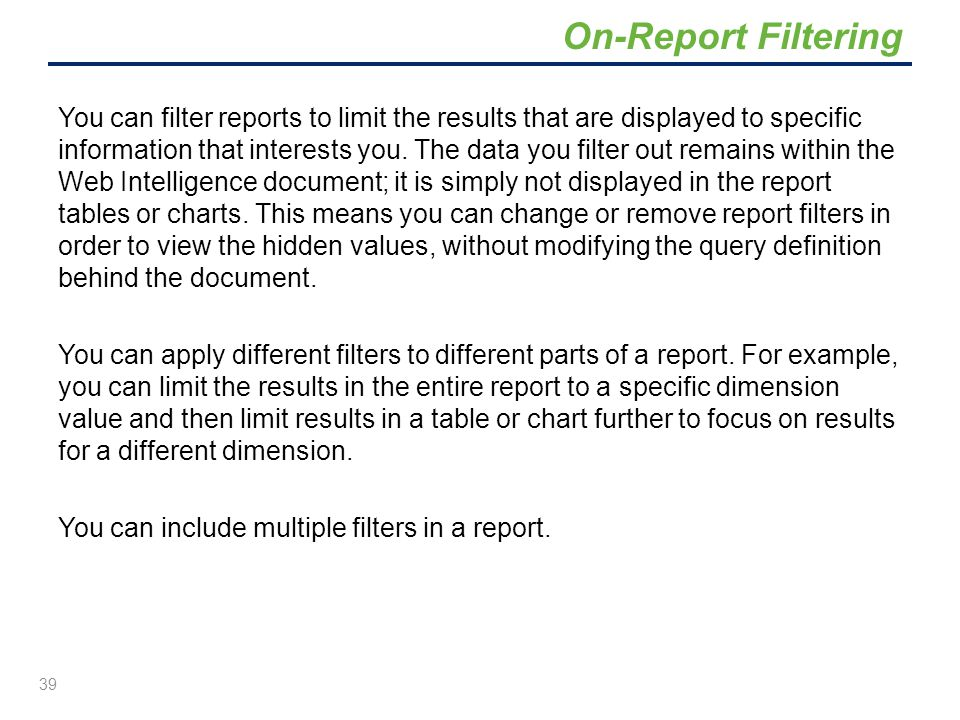 On-Report Filtering