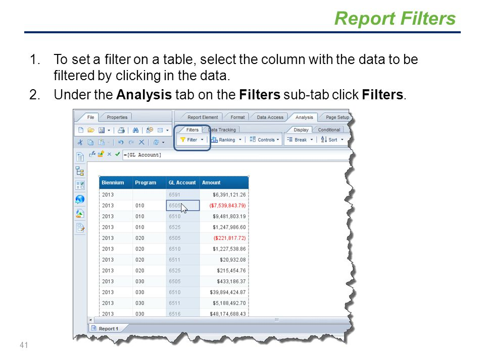 Report Filters To set a filter on a table, select the column with the data to be filtered by clicking in the data.