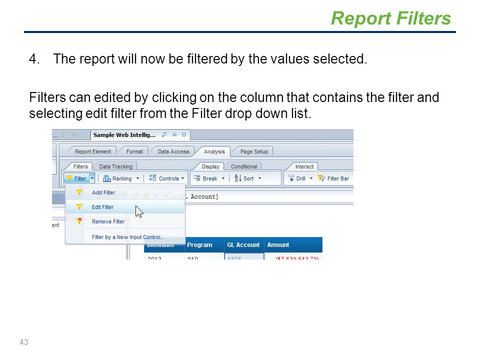 Report Filters The report will now be filtered by the values selected.