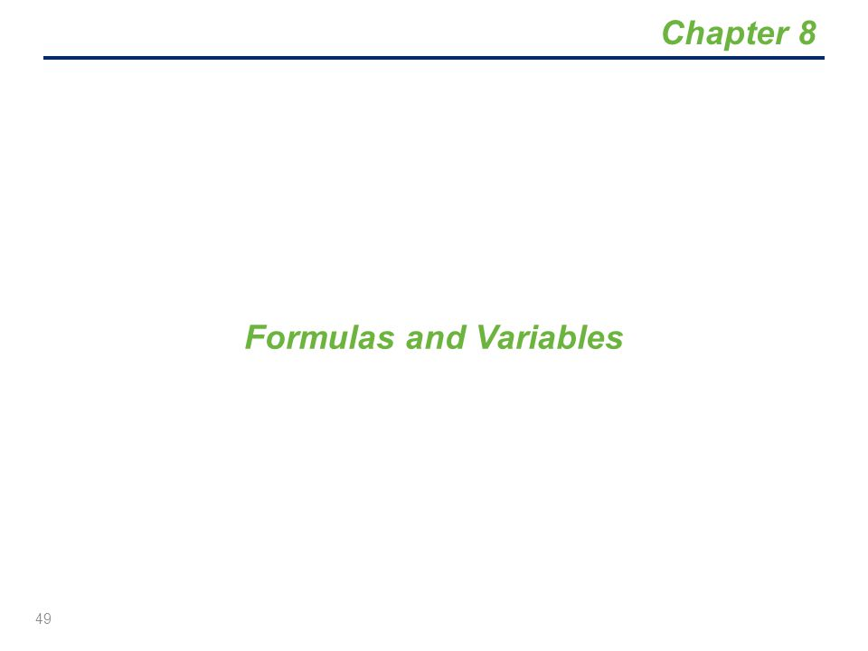 Formulas and Variables