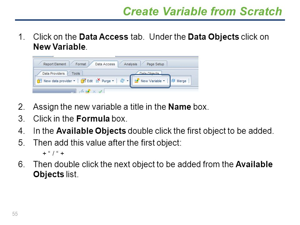 Create Variable from Scratch