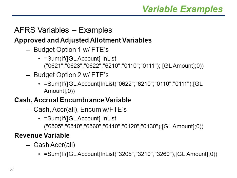 Variable Examples AFRS Variables – Examples