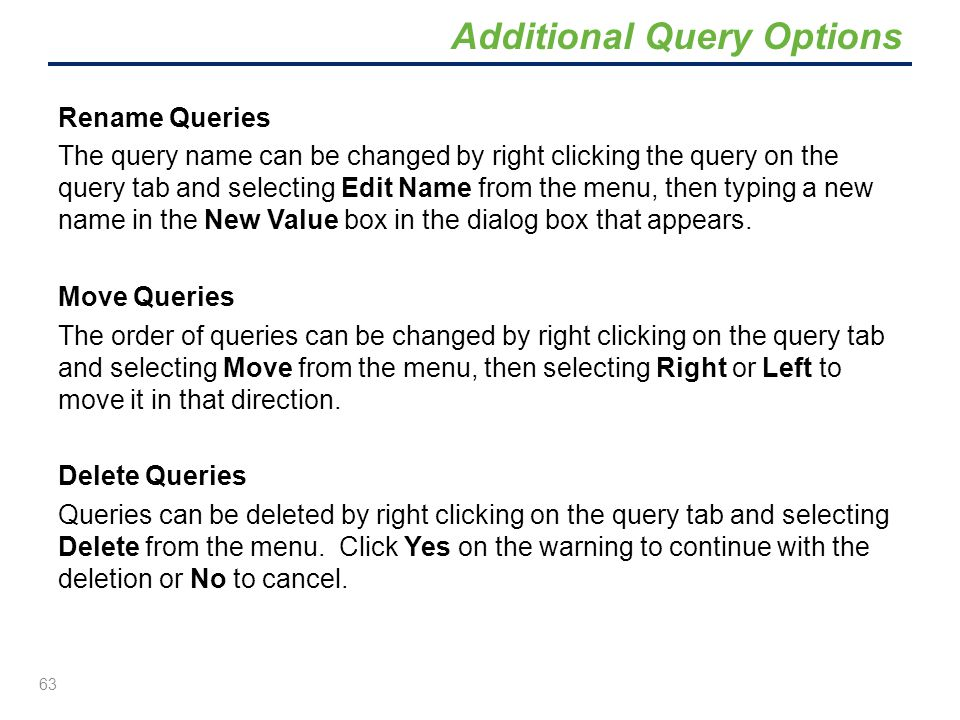 Additional Query Options