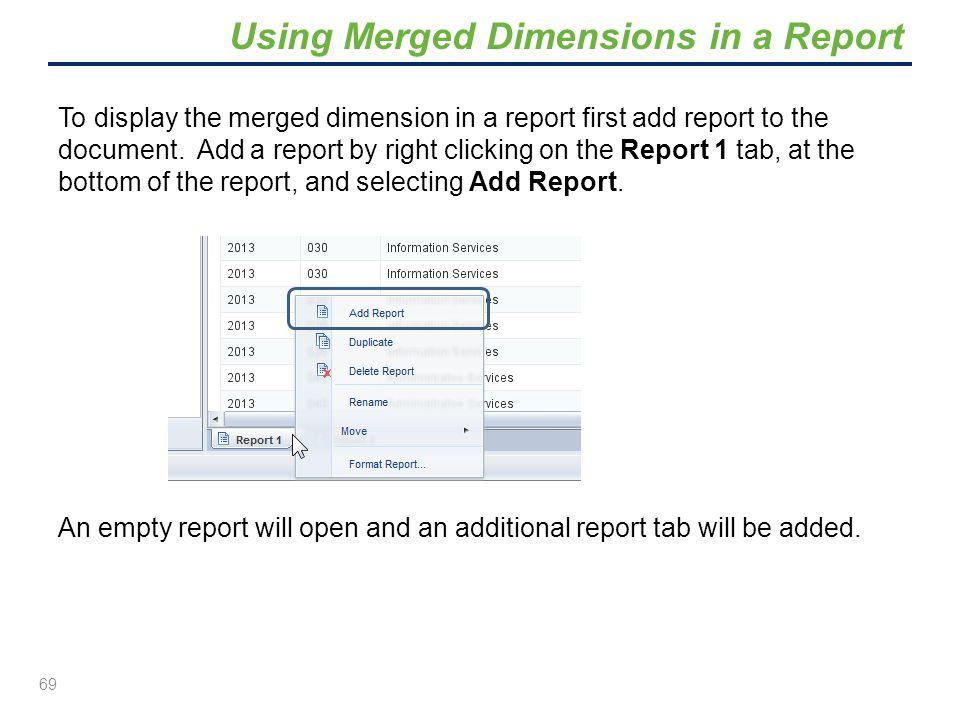 Using Merged Dimensions in a Report