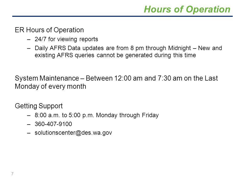 Hours of Operation ER Hours of Operation