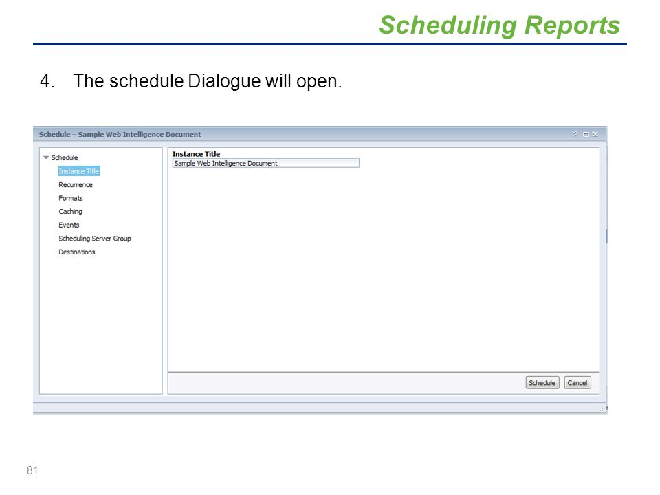 Scheduling Reports The schedule Dialogue will open.