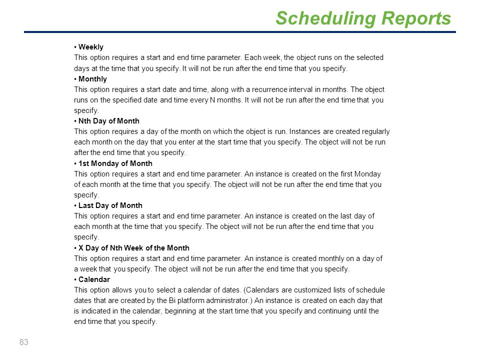 Scheduling Reports