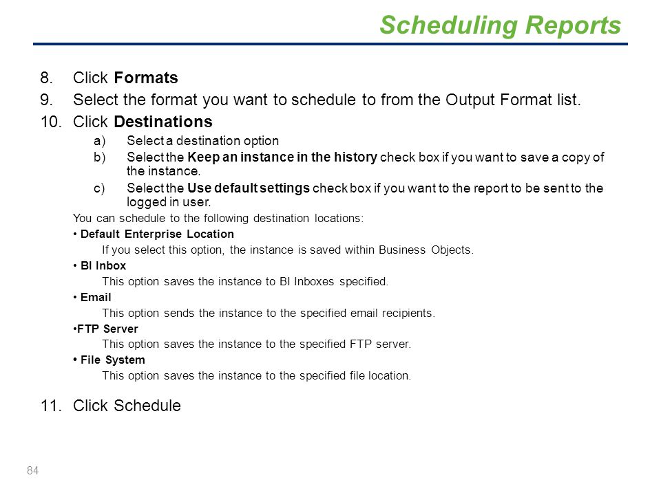 Scheduling Reports Click Formats