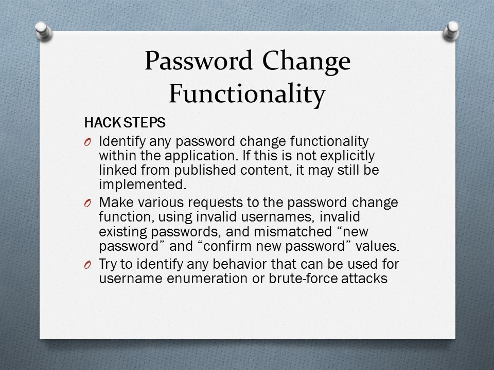 Password Change Functionality
