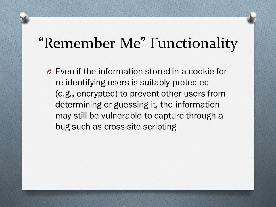 Remember Me Functionality