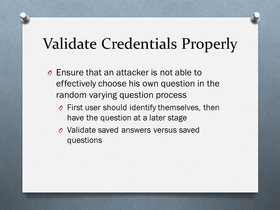 Validate Credentials Properly