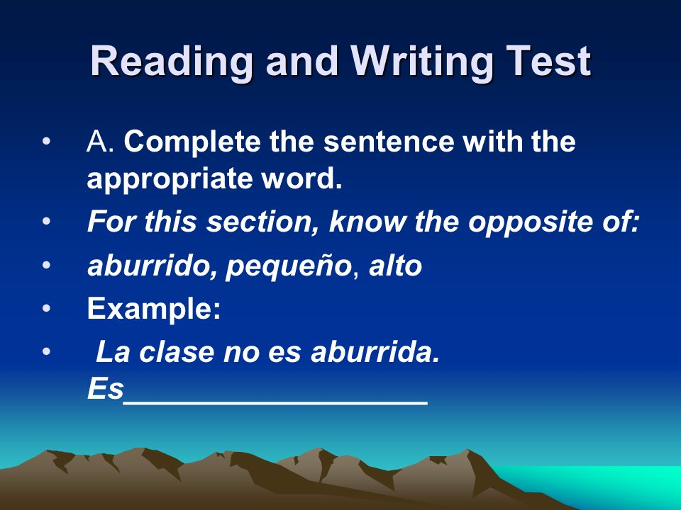 Reading and Writing Test