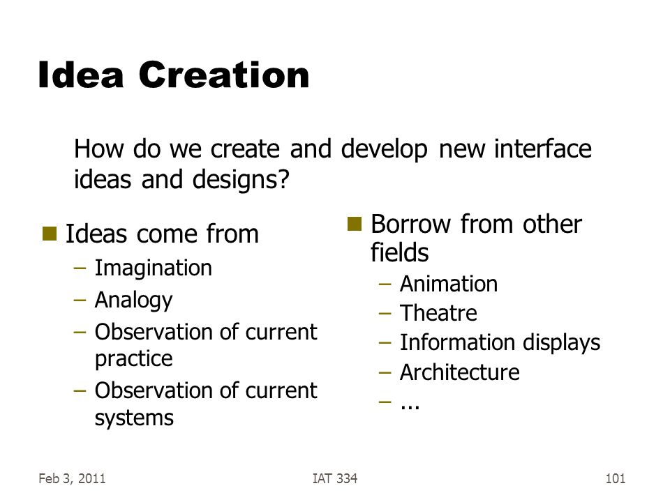 Idea Creation How do we create and develop new interface ideas and designs Ideas come from. Imagination.