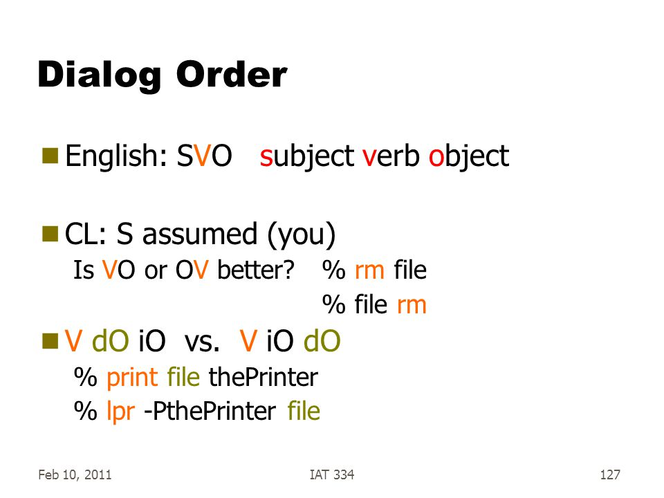 Dialog Order English: SVO subject verb object CL: S assumed (you)