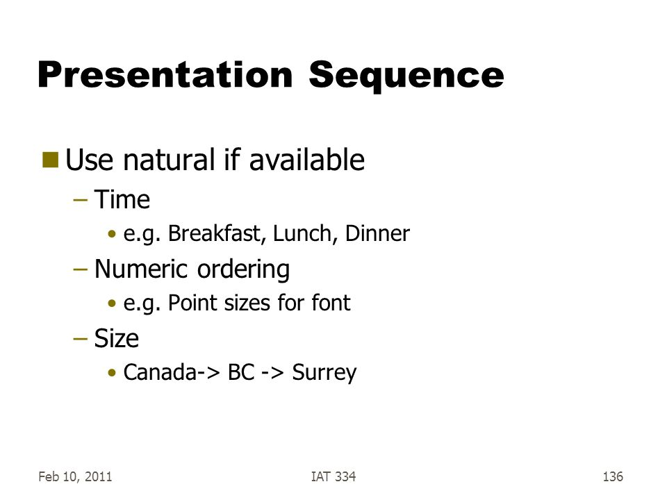 Presentation Sequence