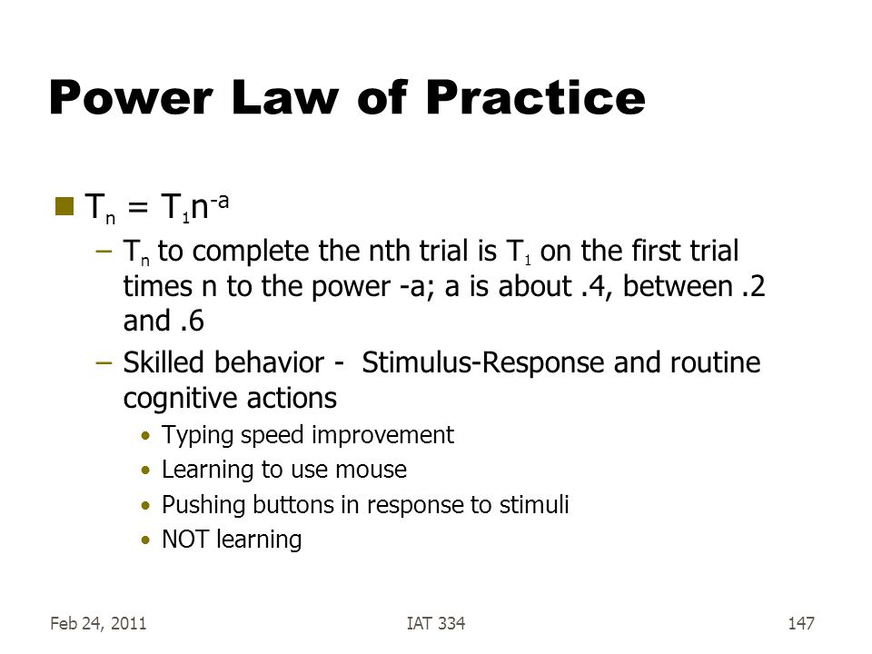 Power Law of Practice Tn = T1n-a