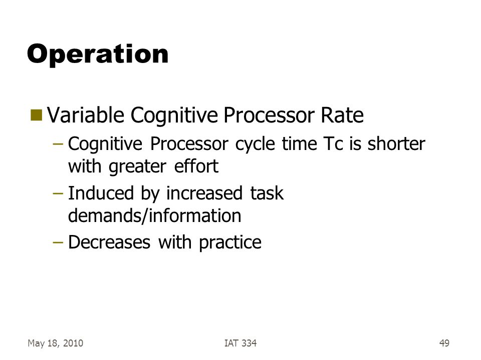 Operation Variable Cognitive Processor Rate