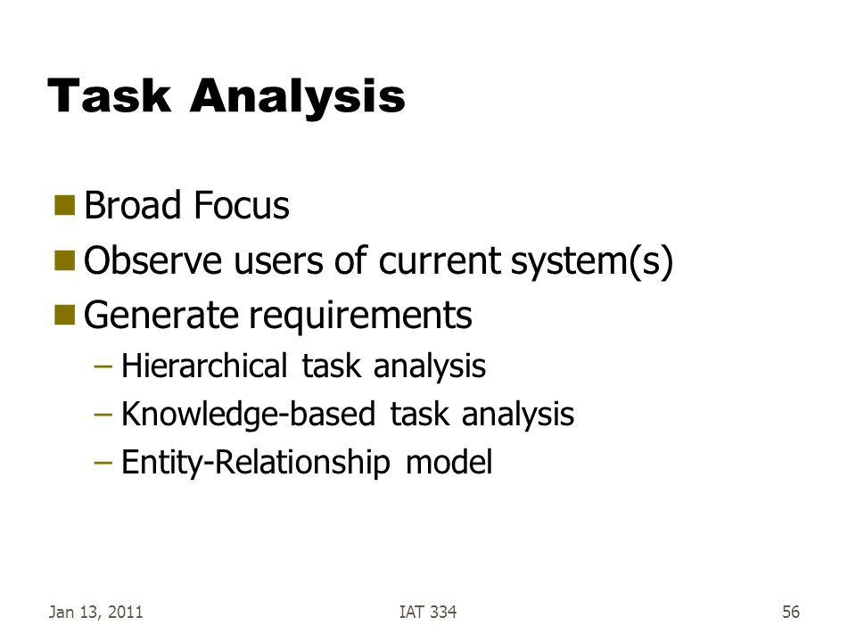 Task Analysis Broad Focus Observe users of current system(s)