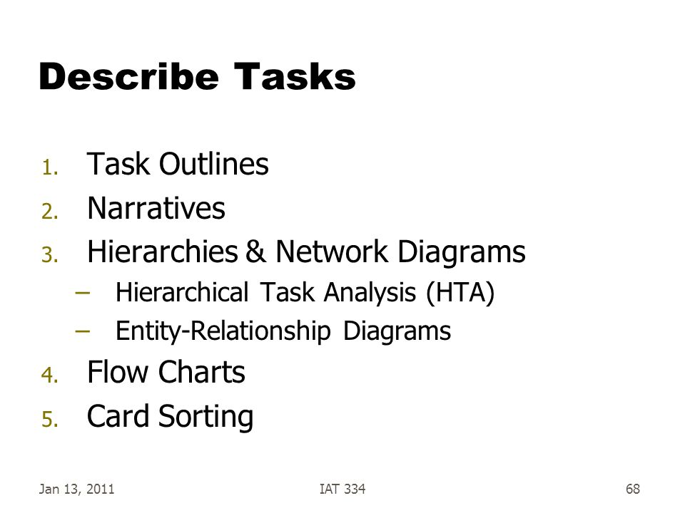 Describe Tasks Task Outlines Narratives Hierarchies & Network Diagrams