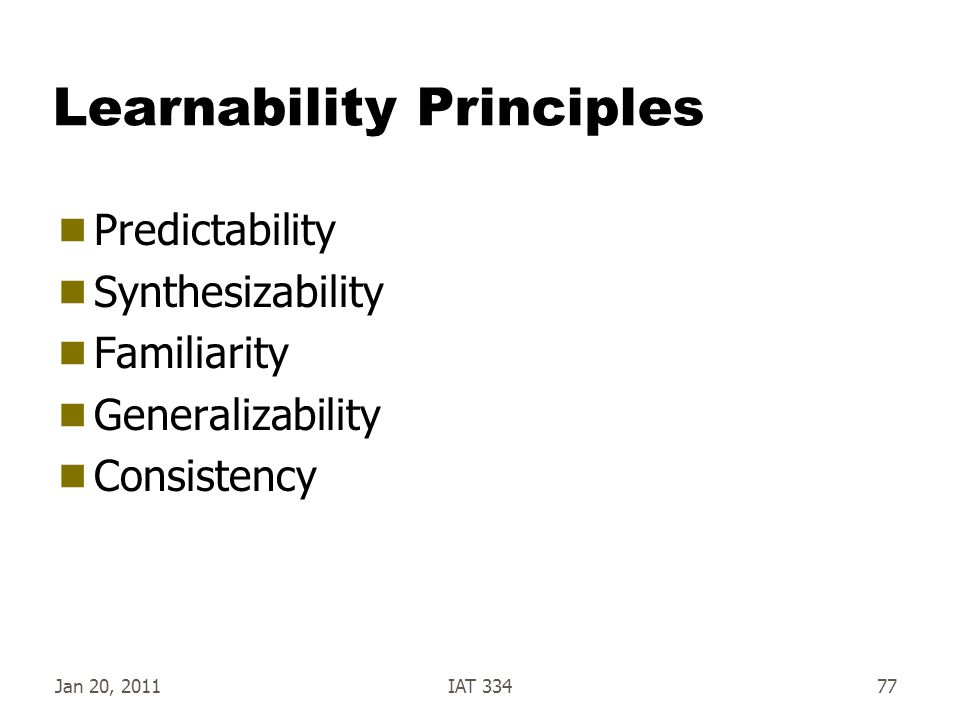 Learnability Principles