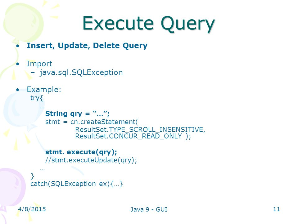 Execute Query Insert, Update, Delete Query Import