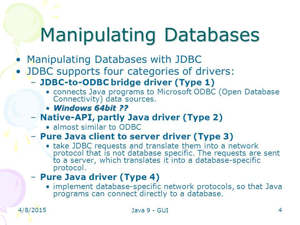 Manipulating Databases