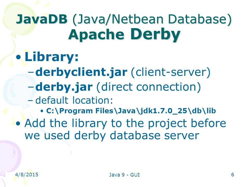JavaDB (Java/Netbean Database) Apache Derby